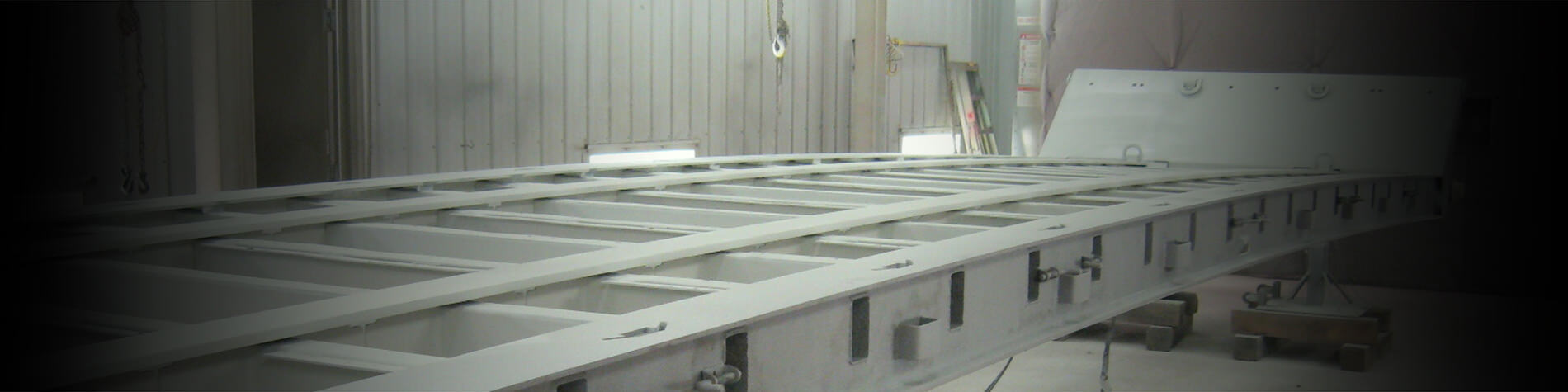 Sandblasted semi trailer chassis